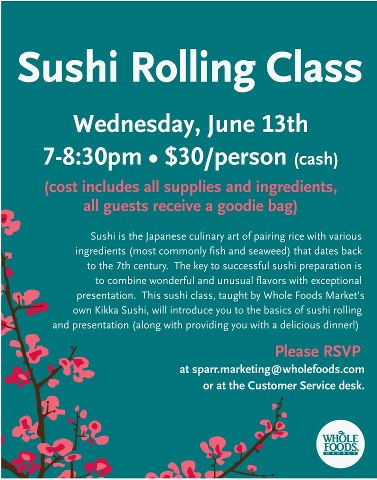 Sushi Rolling Classes